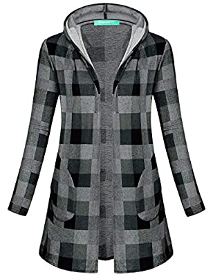 Kimmery Women's Long Sleeve Draped Open Front Hooded Cardigan with Side Pockets