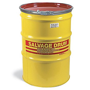 New Pig DRM846 Quick-Style Open-Head UN Rated Lined Steel Salvage Drum, 85 Gallon Storage Capacity, 26.56'' Diameter x 39'' Height, Yellow