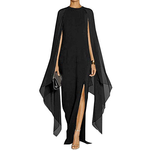SEBOWEL Women's Flare Chiffon Sleeve High Split Formal Evening Gown Maxi Dress with Cape Black XXL