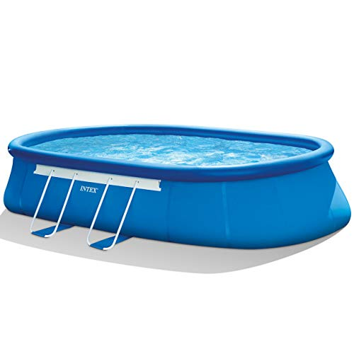 (Intex 20ft X 12ft X 48in Oval Frame Pool Set with Filter Pump, Ladder, Ground Cloth & Pool Cover (Renewed))