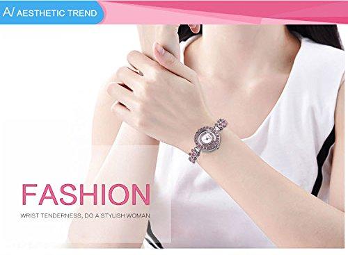 AStarsport Women Luxury Elegant Flower Rhinestone Flower Bangle Bracelet Watches Fashion Lady Dress Watch Analog Wristwatch Silver Pink by AStarsport (Image #2)