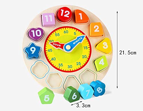 Md trade Wooden Teaching Clock Educational Toys Shapes Sorting Games for Kids