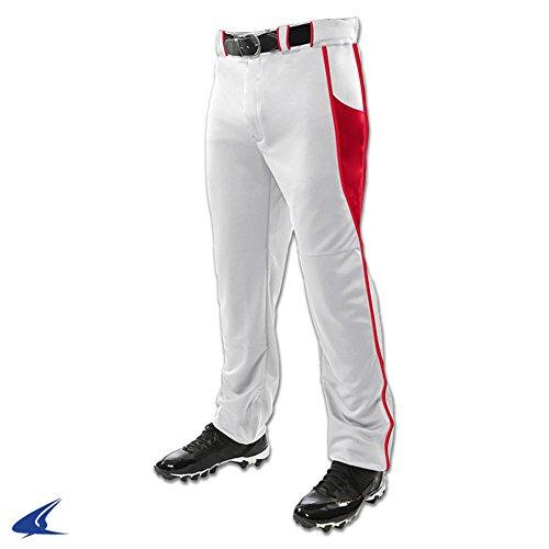 (Champro BP92U Youth Baseball Pants BRIAD Pipe Triple Crown Open Bottom 2 White, Scarlet L)