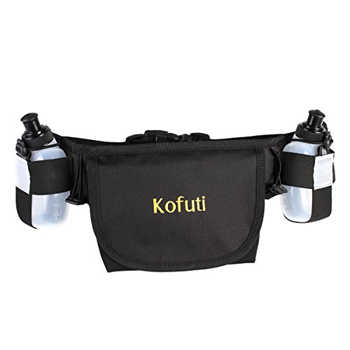 Price comparison product image Kofuti Running Waist Bag with Two Water Bottles Elastic Adjustable Band