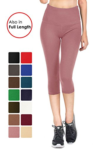 (VIV Collection Signature Capri Leggings Soft w Pocket (L, Indian Pink))