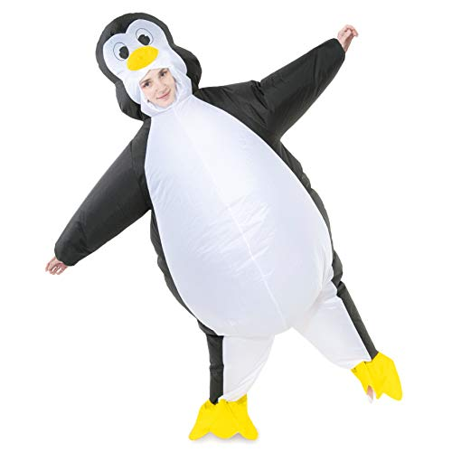 Cheap Penguin Costume (Spooktacular Creations Inflatable Costume Penguin Air Blow-up Deluxe Halloween Costume - Adult Size (5'5'' to 6'3''))