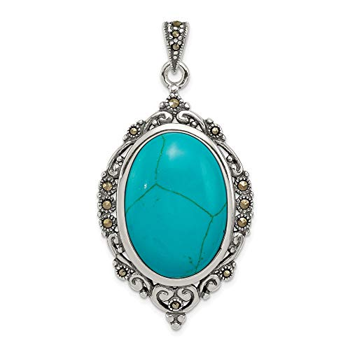 (925 Sterling Silver Marcasite Simulated Blue Turquoise Pendant Charm Necklace Gemstone Fine Jewelry Gifts For Women For Her)