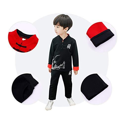 A Tang Abbigliamento Nero Bozevon Lunghe Set Bambino Di 2 Tuta Pezzi E Camicia Primaverile Cinese Stile Tradizionale Maniche Autunno Ragazzi In Pantaloni 17qrYX7