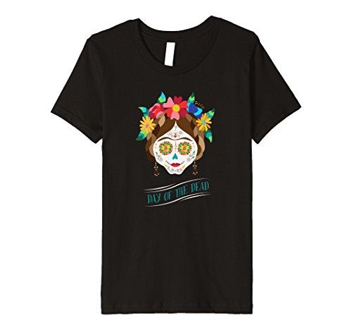 Hit Girl Costume Spirit Halloween - Kids Day of the Dead Sugar Skull Dia De Los Muertos Halloween Tee 10 Black