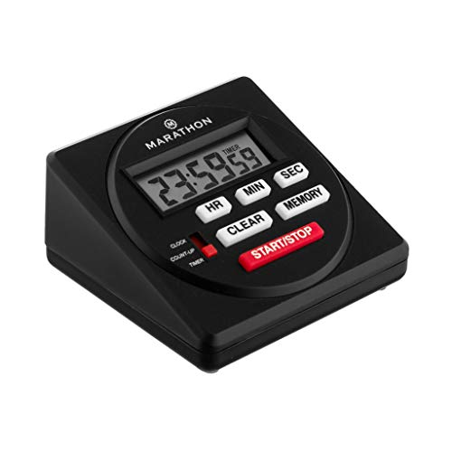 MARATHON TI080001BK Large Commercial Grade Digital 24 Hour Timer with Countdown, Count-up and Clock Feature - Batteries Included - New & Improved! (Fry Timer)