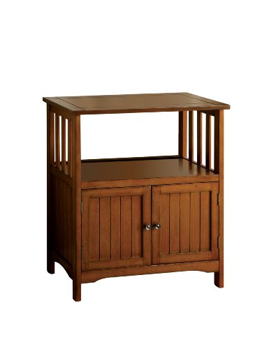 Furniture of America Pompey Mission Style 2-Door Side Table, Antique Oak Finish