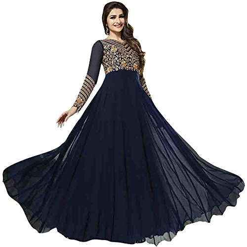 140ae6ace9e4 Suit ( Navy Blue Frock Style Full Sleeve Georgette Anakali Suit )   Amazon.in  Clothing   Accessories