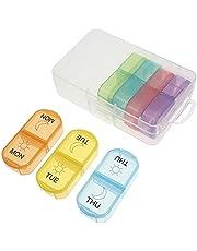 Healifty Veckos Pilllåda Plast 7 Dagar Morgon Natt Pill Fall Compartments Tablet Organizer Resa Utomhusmedicin Container För Vitaminer Kosttillskott Av Fiskolja