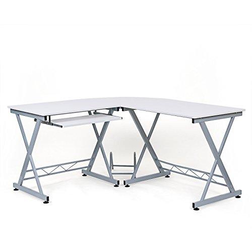 Songmics Computerschreibtisch Computertisch Schreibtisch Bürotisch Computertisch Arbeitstisch Freizeittisch PC Tisch weiß für das Home Office, 150 x 138 x 75 cm, LCD402W