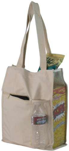 Mesh Water Bottle Holder (Canvas Mesh Tote Bag w/Bottle Holder)