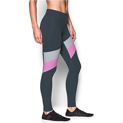 Under Armour Women's Mirror Stripe Legging, Stealth Gray/Verve Violet, Large
