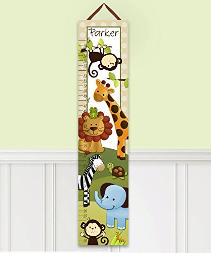 Canvas GROWTH CHART Jungle Safari Animals Blue Elephant Monkeys Lion Giraffe Babies Bedroom Baby Nursery Wall Art GC0004 by Toad and Lily