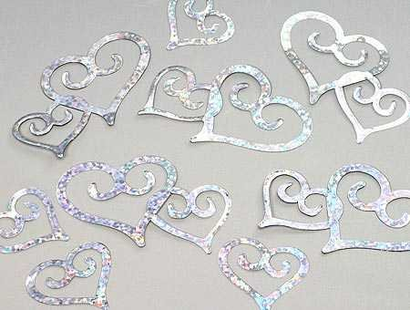 Bulk Bag of Holographic Silver Heart Confetti for Weddings, Showers, Parties, and Everyday