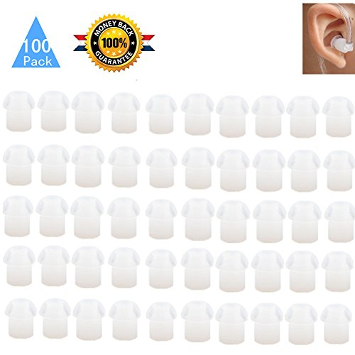 Lsgoodcare 100Pack White Silicone Rubber Replacement Mushroom EarTips Earbud Compatible for Motorola Kenwood Icom Yaesu Baofeng HYT Midland Cobra Radio Surveillance Acoustic Tube Earpiece Headset