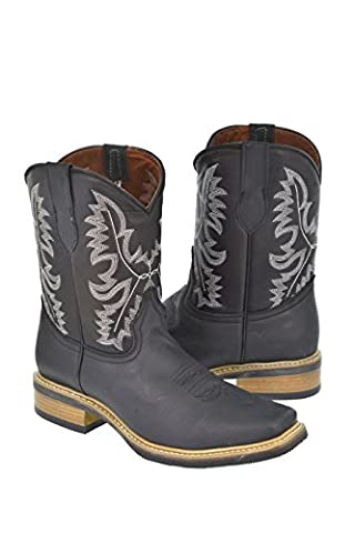Texas Legacy - Men's Black Saddle Style Leather Cowboy Boots Rubber Sole Rodeo Toe 14 EE (Boot Rodeo Style)