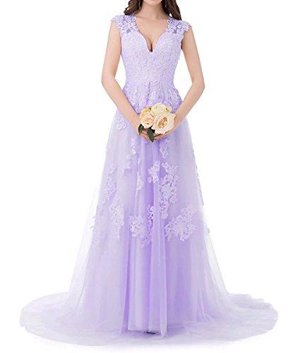 Lavendel Tüll Lang Abendkleider Beyonddress Brautkleid Ausschnitt Damen Ballkleider Brautjungfern Spitze Hochzeit V Kleider 7pqwZ5