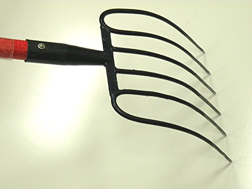 Ergonomic 6 Tines Forged Pitch Fork,Professional Welded Bedding Fork ,Forged Ensilage Manue Fork-Heavy Duty Long Fiberglass Handle , Overall in Length 63