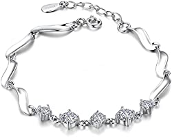 Silver Shoppee Austrian Crystal Studded Sterling Silver Chai