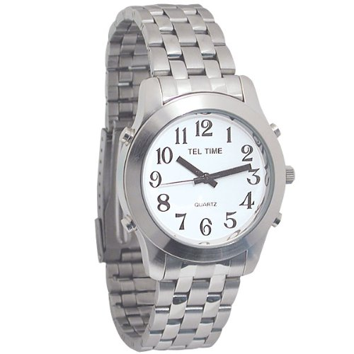 Mens Classic Tel-Time Chrome Talking Watch with White Dial-Chrome Bracelet Band
