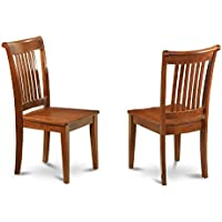 East West Furniture POC-SBR-W Slat Back Dining Room Chair Set with Wood Seat, Set of 2