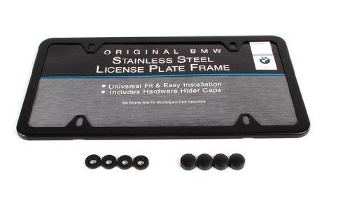 (New Genuine BMW License Plate Frame Black Finish OEM Slimline 82120010399)