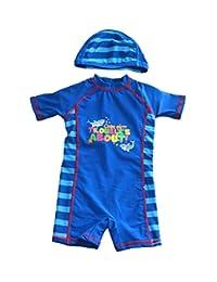 Meeyocc Kids Boys One Piece Swimsuit UPF 50+ Sun Protective Rashguard Cap Swimwear