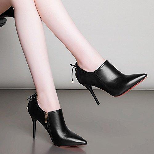 de Alto Zapatos en DHG de en Cuero Europa Tacón Mujer de Cremallera Lateral Negro Puntiagudo Zapatos 38 Sex de con Invierno qwgU1Yq