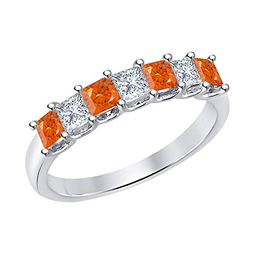 Princess Cut Orange Sapphire & Diamond Half Eternity 14k White Gold .925 Sterling Silver Wedding 7-Stone Band Ring for Women