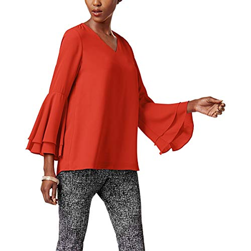 Alfani Womens V-Neck Hi Low Casual Top Red 8 from Alfani