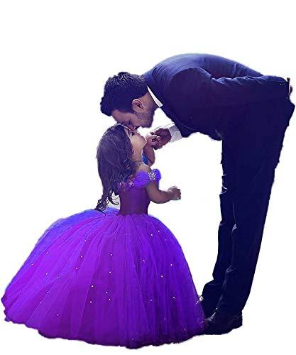 Aprildress Purple Flower Girl Dresses Ball Gown Cinderella Kids Dress for Girls PFD132-PP-2]()