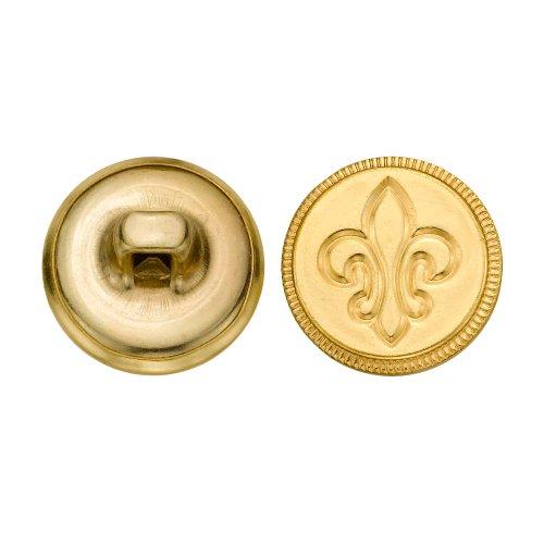 C&C Metal Products 5149 Modern Fleur De Lis with Rim Metal Button, Size 24 Ligne, Gold, 72-Pack