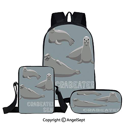 Crabeater Seal - Three-piece student backpack,Crabeater Seal Cartoon Vector Illustration,Suitable For School