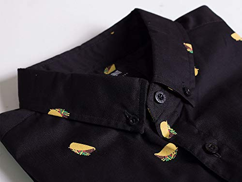 372df60f Visive Hawaiian Shirt for Mens Short Sleeve Black Taco Button Up Down  Casual Shirts 3XL by