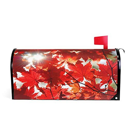 Wamika Autumn Fall Red Maple Leaves Magnetic Mailbox Cover MailWraps, Mailbox Wraps Post Box Garden Yard Home Decor for Outside Standard Size 20.8