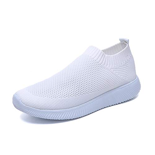 Glad You Came Women White Sneakers Female Knitted Vulcanized Shoes Casual Slip On Flats Ladies Sock Shoes Trainers Summer Tenis Feminino 2019,hmy 53white,5 (Best Suspension Trainers 2019)