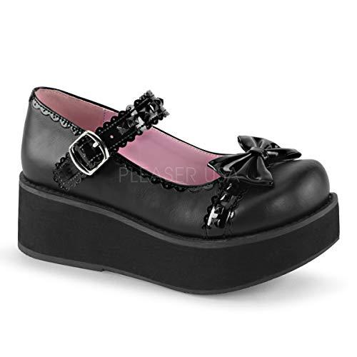 Demonia Women's Sprite-04 Platform Shoes (Platform Black Pat Shoe)