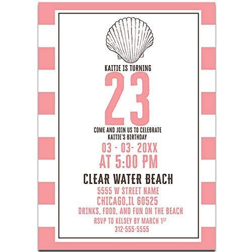 Image Unavailable Not Available For Color Beach Themed Pastel Birthday Party Invitations