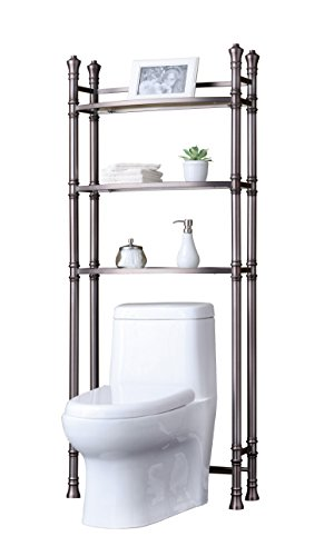 Best Living Monaco Bathroom Space Saver Etagere Shelf, Brushed Titanium