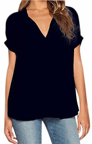 Casual Noir Chemisiers Col Chemise Mousseline Chic Fuxiang Shirt Femme Shirts Courte V Femmes Chemisiers Manche Irrgulire Chemisier Blouse Chiffon T Top TRWwqn0W