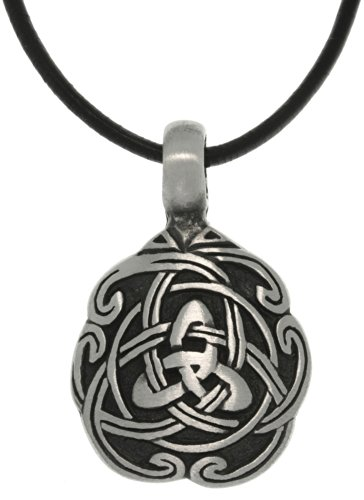 Jewelry Trends Pewter Celtic Trinity Knot Unity Pendant on 18 Inch Black Leather Cord Necklace