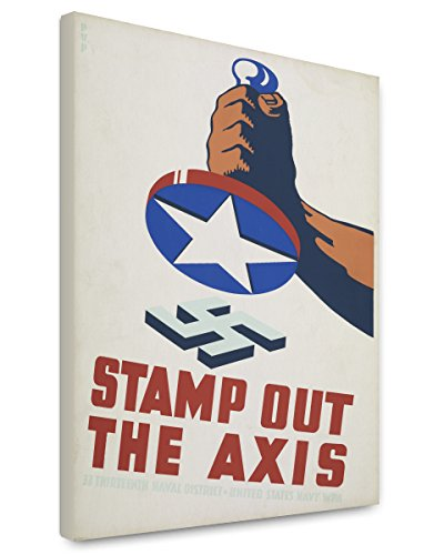Canvas Print 16x20: Stamp Out The Axis, World War II, - 1941 Poster Stamp