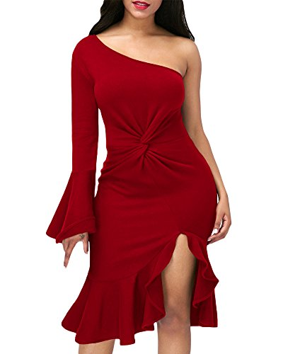 one sleeve red dress - 5