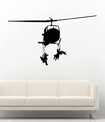 Military Helicopter Wall Decal for Children's Room Home Decor Vinyl Stickers MK1881