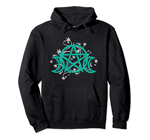 Triple Moon Pot Leaf Hoodie Pentacle Wicca Herbal ()