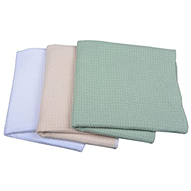 Sinland Waffle Weave Microfiber Kitchen Towels Dish Cloths 16 Inch X 24 Inch 3 Pack Assorted Color
